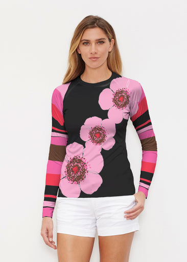 Poppy Black Stripes (7100) ~ Long Sleeve Rash Guard