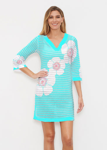 Poppy Seaglass Green (7107) ~ Banded 3/4 Sleeve Cover-up Dress