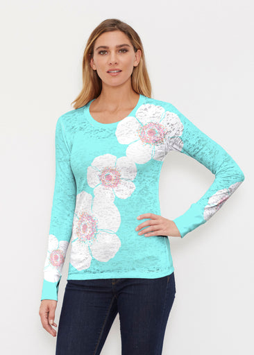 Poppy Seaglass Green (7107) ~ Thermal Long Sleeve Crew Shirt