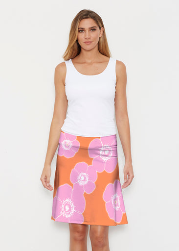 Poppy Orange-Pink (7108) ~ Silky Brenda Skirt 21 inch