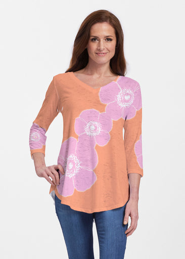 Poppy Orange-Pink (7108) ~ Signature V-neck Flowy Tunic
