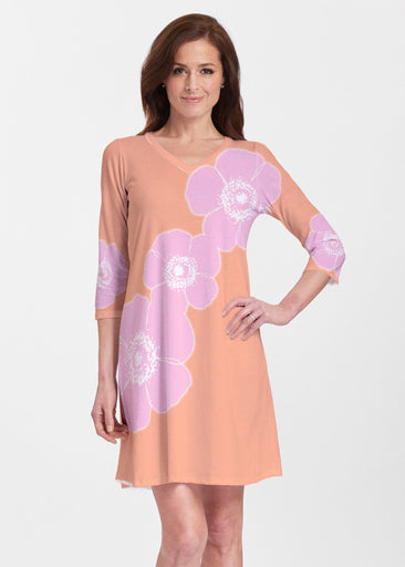 Poppy Orange-Pink (7108) ~ Classic V-neck Swing Dress