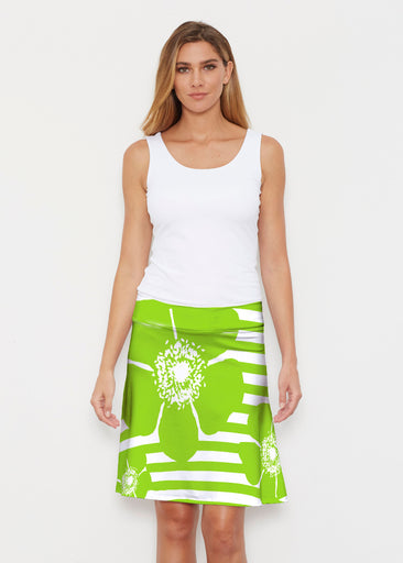 Poppy Lime Stripes-Dots (7142) ~ Silky Brenda Skirt 21 inch