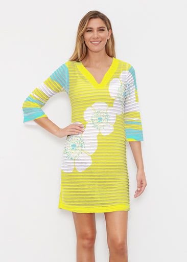 Poppy Chartreuse (7146) ~ Banded 3/4 Sleeve Cover-up Dress