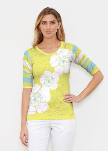 Poppy Chartreuse (7146) ~ Elbow Sleeve Crew Shirt