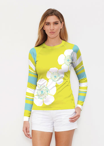 Poppy Chartreuse (7146) ~ Long Sleeve Rash Guard
