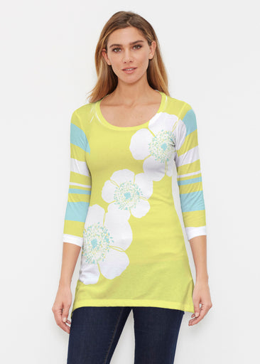 Poppy Chartreuse (7146) ~ Buttersoft 3/4 Sleeve Tunic