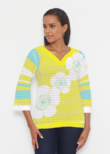 Poppy Chartreuse (7146) ~ Banded 3/4 Bell-Sleeve V-Neck Tunic