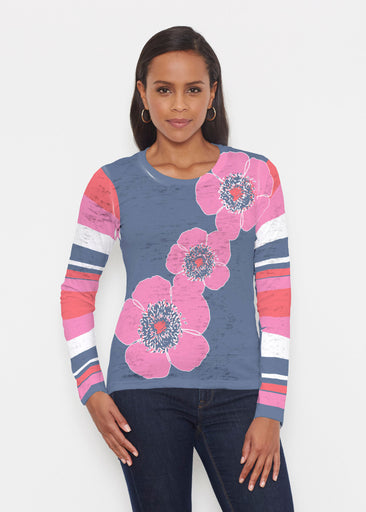 Poppy Stripes Navy-Pink (7158) ~ Signature Long Sleeve Crew Shirt