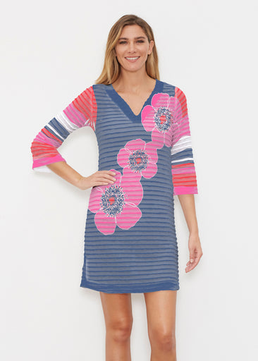 Poppy Stripes Navy-Pink (7158) ~ Banded 3/4 Sleeve Cover-up Dress