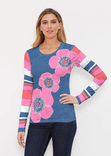 Poppy Stripes Navy-Pink (7158) ~ Thermal Long Sleeve Crew Shirt