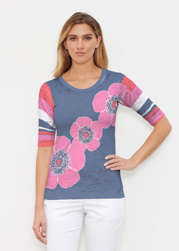Poppy Stripes Navy-Pink (7158) ~ Elbow Sleeve Crew Shirt