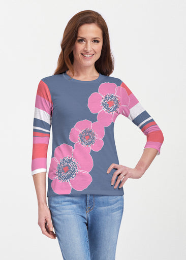 Poppy Stripes Navy-Pink (7158) ~ 3/4 Sleeve Crew