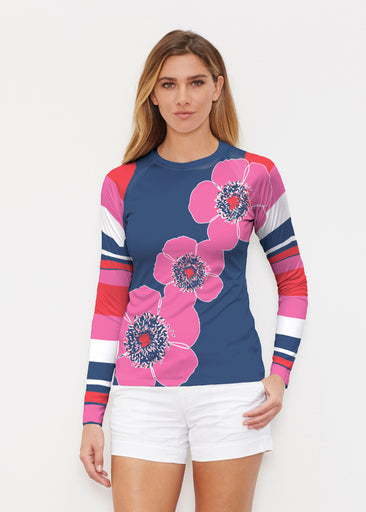 Poppy Stripes Navy-Pink (7158) ~ Long Sleeve Rash Guard