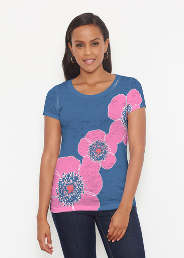 Poppy Stripes Navy-Pink (7158) ~ Short Sleeve Scoop Shirt