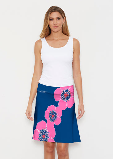 Poppy Stripes Navy-Pink (7158) ~ Silky Brenda Skirt 21 inch