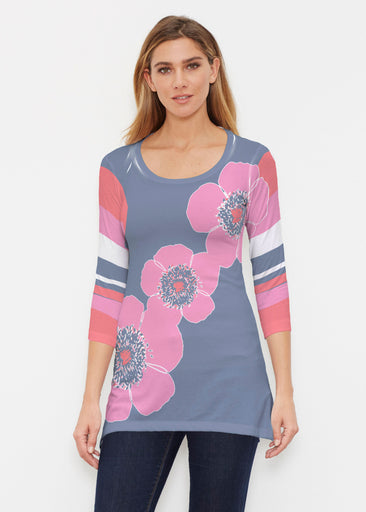 Poppy Stripes Navy-Pink (7158) ~ Buttersoft 3/4 Sleeve Tunic