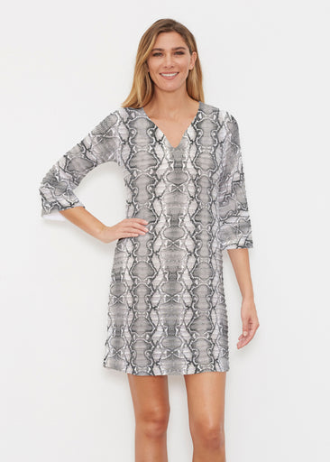 Python Silver (7272) ~ Banded 3/4 Sleeve Cover-up Dress