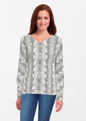 Python Silver (7272) ~ Classic V-neck Long Sleeve Top