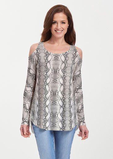 Python Silver (7272) ~ Butterknit Cold Shoulder Tunic