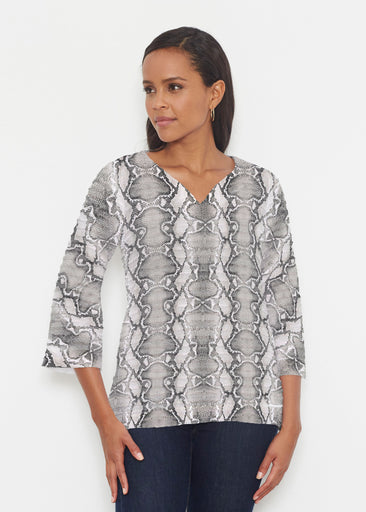 Python Silver (7272) ~ Banded 3/4 Bell-Sleeve V-Neck Tunic