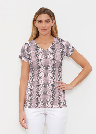 Python Blush (7273) ~ Signature Cap Sleeve V-Neck Shirt