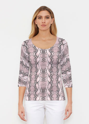 Python Blush (7273) ~ Signature 3/4 Sleeve Scoop Shirt