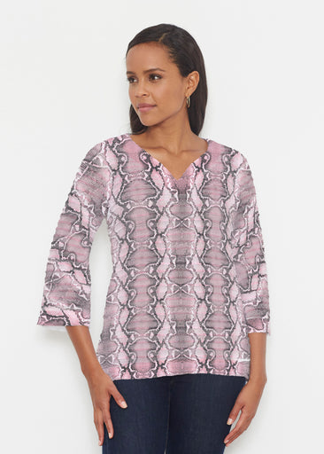 Python Blush (7273) ~ Banded 3/4 Bell-Sleeve V-Neck Tunic