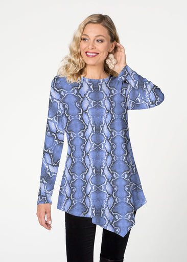 Python Blue (7275) ~ Asymmetrical French Terry Tunic