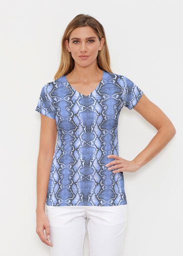 Python Blue (7275) ~ Signature Cap Sleeve V-Neck Shirt
