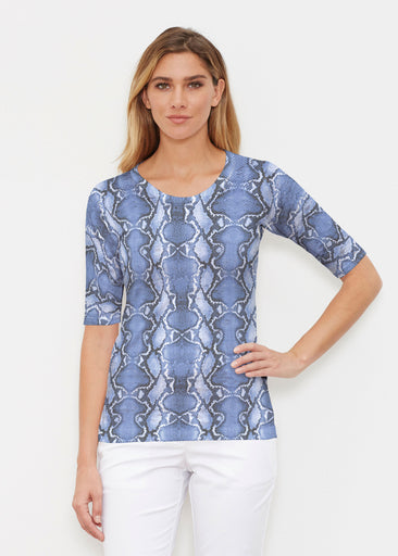 Python Blue (7275) ~ Signature Elbow Sleeve Crew Shirt