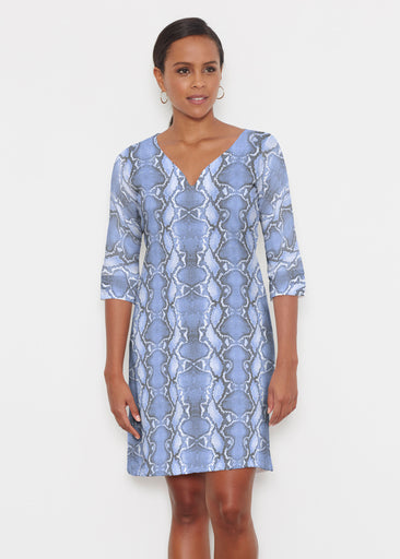 Python Blue (7275) ~ Classic 3/4 Sleeve Sweet Heart V-Neck Dress