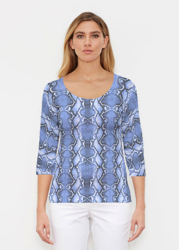 Python Blue (7275) ~ Signature 3/4 Sleeve Scoop Shirt