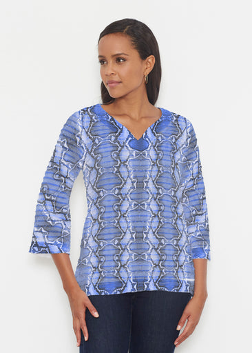 Python Blue (7275) ~ Banded 3/4 Bell-Sleeve V-Neck Tunic