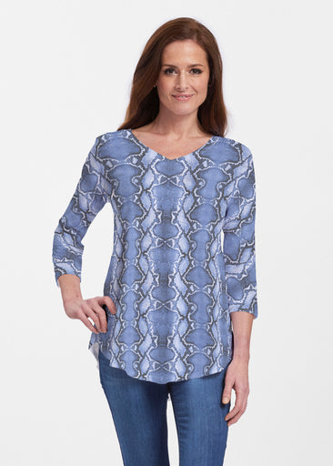 Python Blue (7275) ~ Signature V-neck Flowy Tunic
