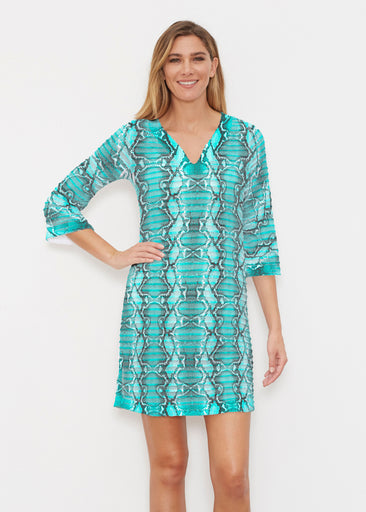 Python Aqua (7277) ~ Banded 3/4 Sleeve Cover-up Dress