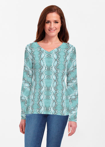 Python Aqua (7277) ~ Classic V-neck Long Sleeve Top