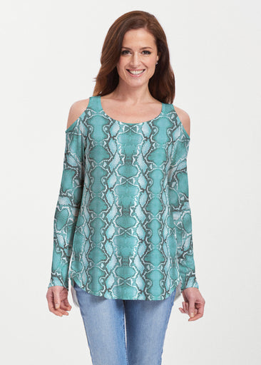 Python Aqua (7277) ~ Butterknit Cold Shoulder Tunic
