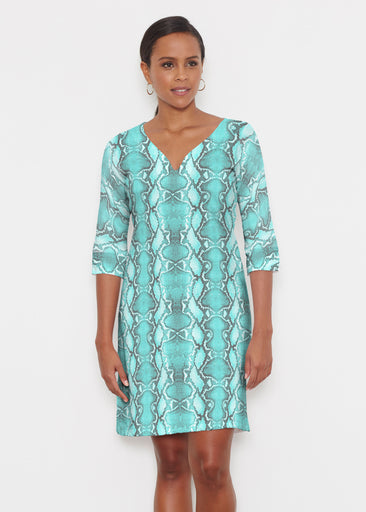 Python Aqua (7277) ~ Classic 3/4 Sleeve Sweet Heart V-Neck Dress
