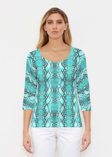 Python Aqua (7277) ~ Signature 3/4 Sleeve Scoop Shirt