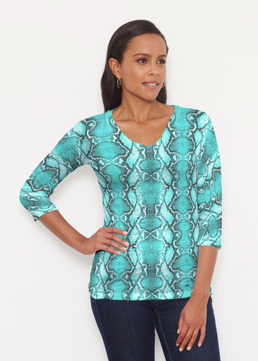 Python Aqua (7277) ~ Signature 3/4 V-Neck Shirt