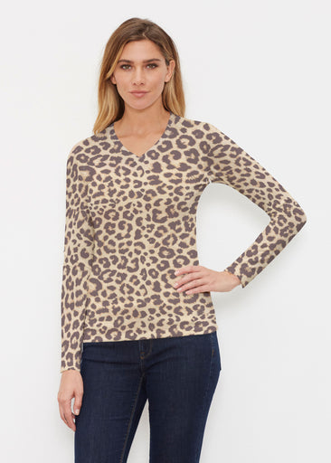 Jaguar Sand (7280) ~ Butterknit Long Sleeve V-Neck Top