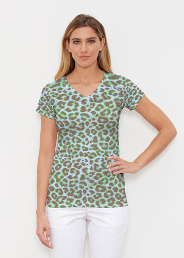 Jaguar Mint (7285) ~ Signature Cap Sleeve V-Neck Shirt