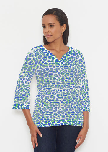 Jaguar Royal (7287) ~ Banded 3/4 Bell-Sleeve V-Neck Tunic