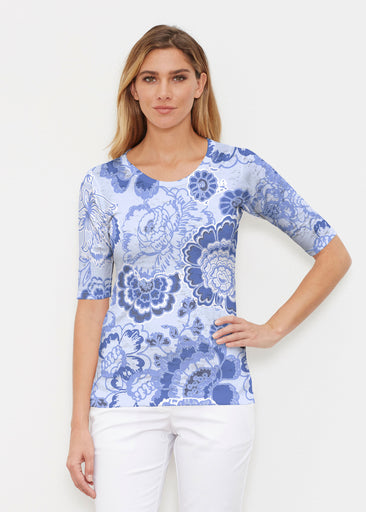 Carnation Periwinkle (7575) ~ Elbow Sleeve Crew Shirt