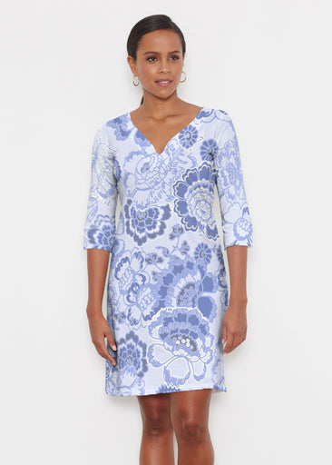 Carnation Periwinkle (7575) ~ Classic 3/4 Sleeve Sweet Heart V-Neck Dress