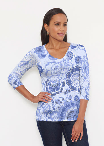 Carnation Periwinkle (7575) ~ Signature 3/4 V-Neck Shirt
