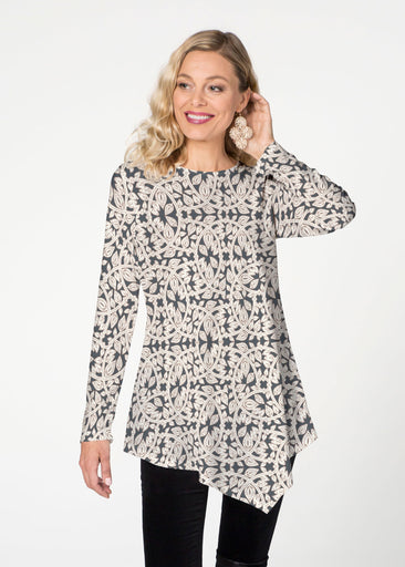 Topiary Cream  (7581) ~ Asymmetrical French Terry Tunic