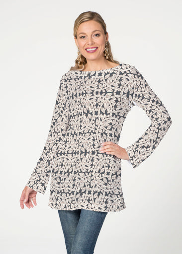 Topiary Cream (7581) ~ Banded Boat Neck Tunic