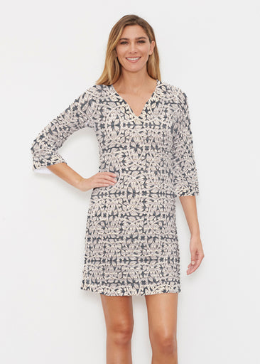 Topiary Cream (7581) ~ Banded 3/4 Sleeve Cover-up Dress